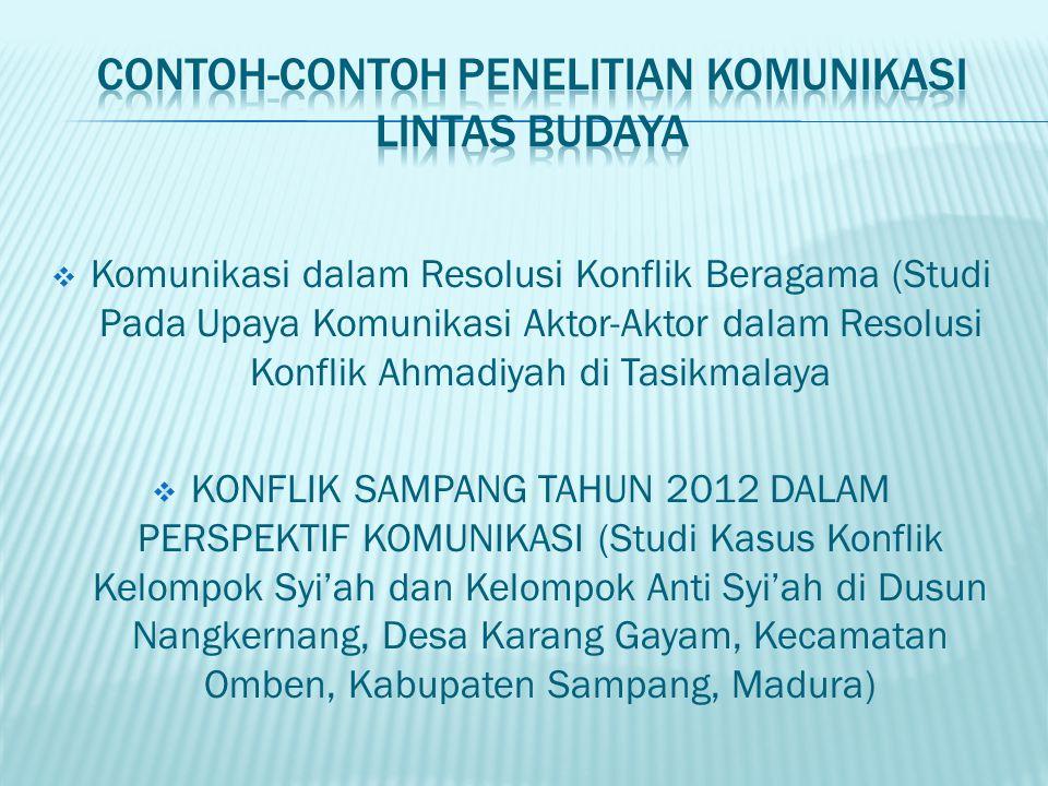  Komunikasi dalam Resolusi Konflik Beragama (Studi Pada Upaya Komunikasi Aktor-Aktor dalam Resolusi Konflik Ahmadiyah di Tasikmalaya  KONFLIK SAMPAN