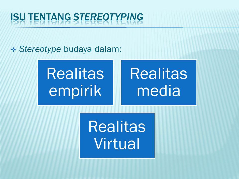  Stereotype budaya dalam: Realitas empirik Realitas media Realitas Virtual