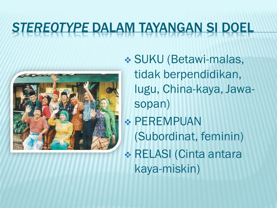  Bagaimana stereotype dalam tayangan sinetron-sinetron di Indonesia.