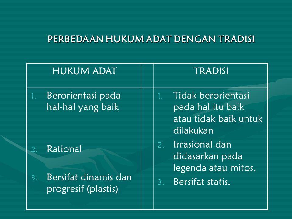 PERBEDAAN HUKUM ADAT DENGAN TRADISI HUKUM ADATTRADISI 1. Berorientasi pada hal-hal yang baik 2. Rational 3. Bersifat dinamis dan progresif (plastis) 1