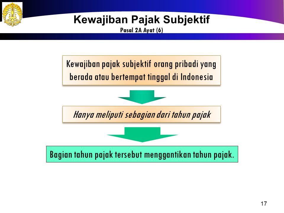 17 Kewajiban pajak subjektif orang pribadi yang berada atau bertempat tinggal di Indonesia Kewajiban pajak subjektif orang pribadi yang berada atau be