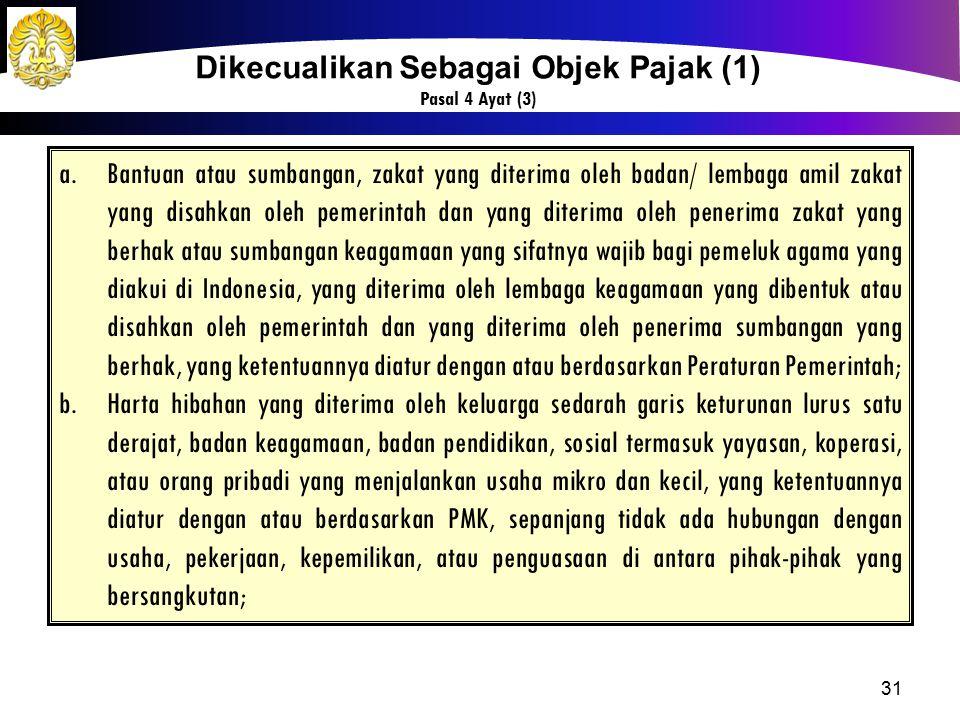 31 Dikecualikan Sebagai Objek Pajak (1) Pasal 4 Ayat (3) a.Bantuan atau sumbangan, zakat yang diterima oleh badan/ lembaga amil zakat yang disahkan ol