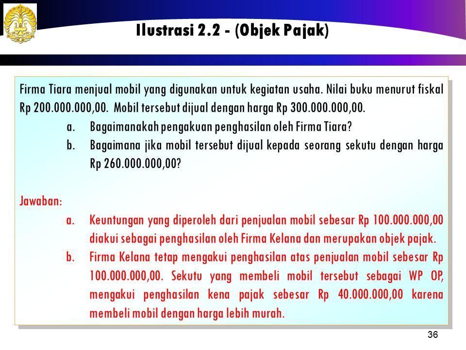 Firma Tiara menjual mobil yang digunakan untuk kegiatan usaha. Nilai buku menurut fiskal Rp 200.000.000,00. Mobil tersebut dijual dengan harga Rp 300.