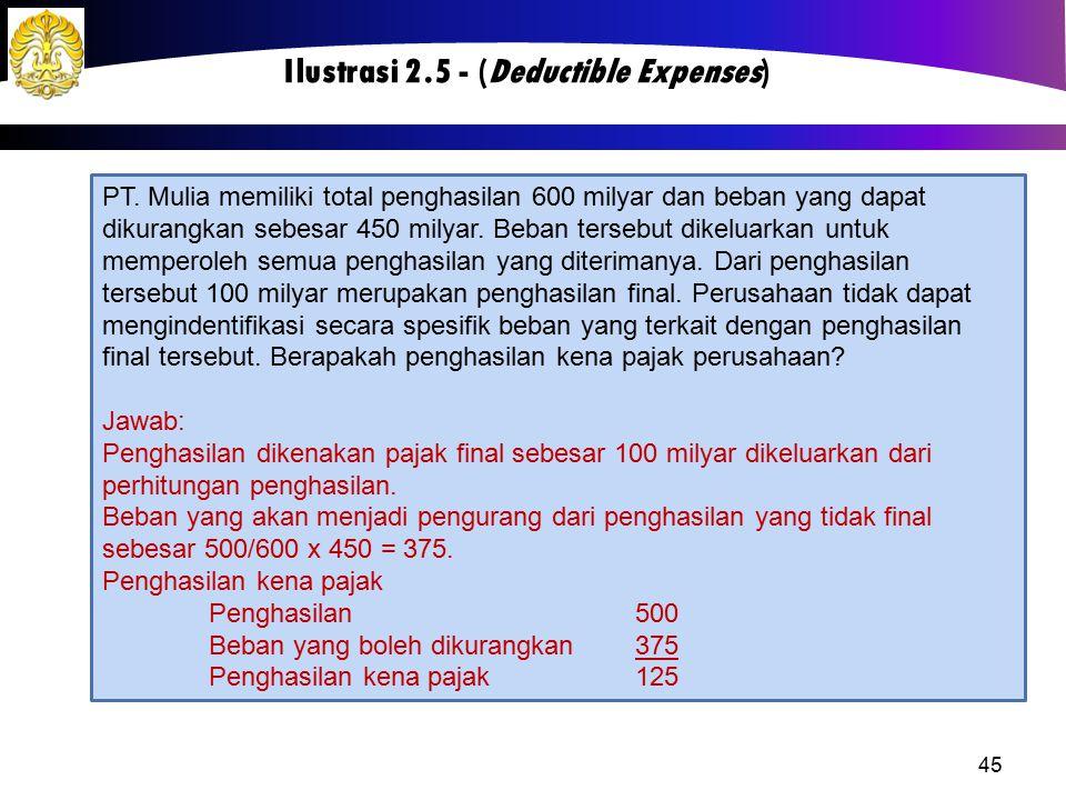 45 Ilustrasi 2.5 - (Deductible Expenses) PT. Mulia memiliki total penghasilan 600 milyar dan beban yang dapat dikurangkan sebesar 450 milyar. Beban te