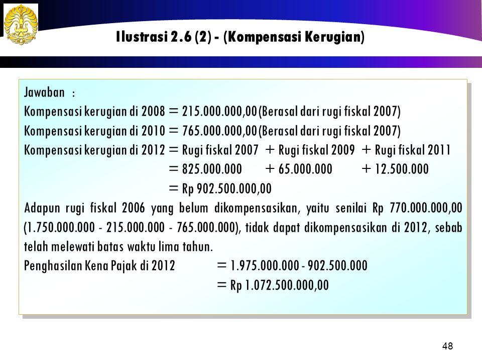 Jawaban: Kompensasi kerugian di 2008= 215.000.000,00 (Berasal dari rugi fiskal 2007) Kompensasi kerugian di 2010= 765.000.000,00 (Berasal dari rugi fi