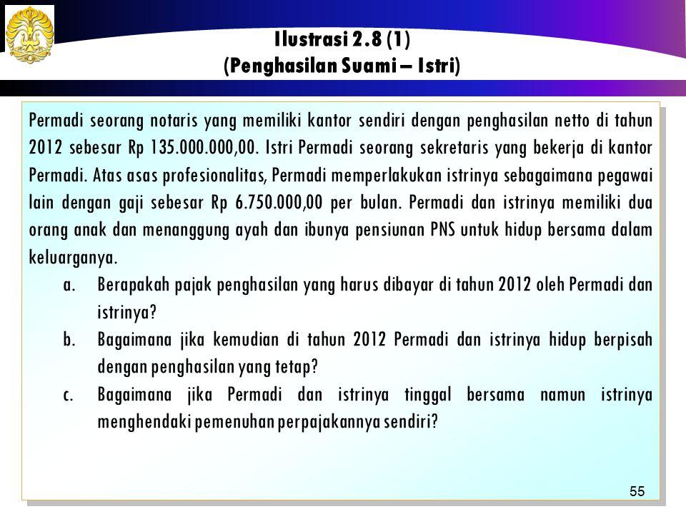 Permadi seorang notaris yang memiliki kantor sendiri dengan penghasilan netto di tahun 2012 sebesar Rp 135.000.000,00. Istri Permadi seorang sekretari