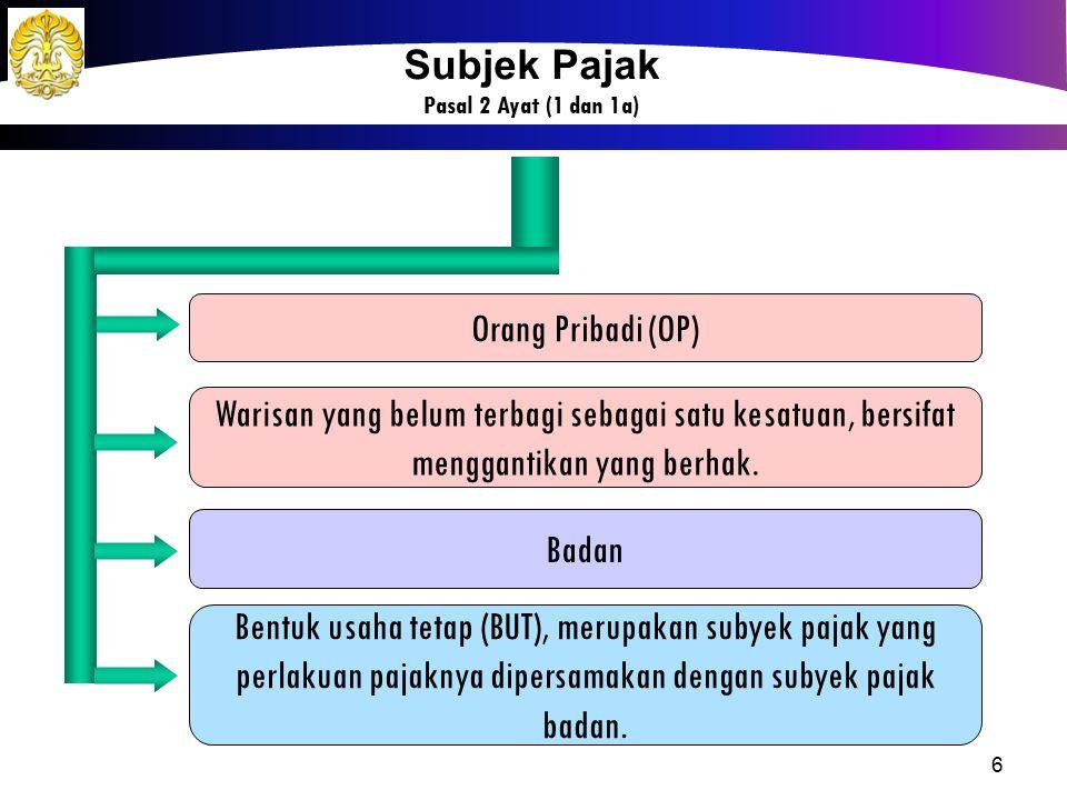 6 Orang Pribadi (OP) Badan Bentuk usaha tetap (BUT), merupakan subyek pajak yang perlakuan pajaknya dipersamakan dengan subyek pajak badan. Warisan ya