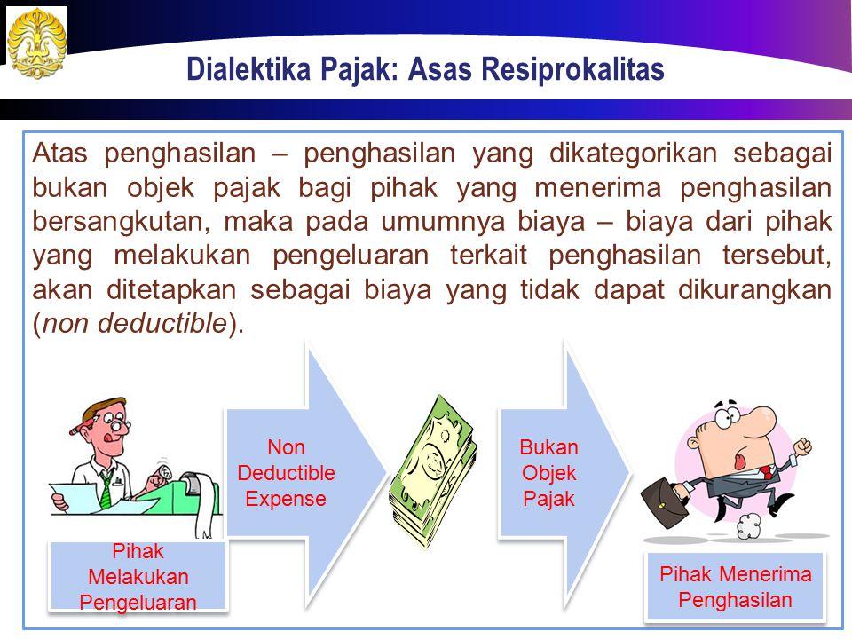 Atas penghasilan – penghasilan yang dikategorikan sebagai bukan objek pajak bagi pihak yang menerima penghasilan bersangkutan, maka pada umumnya biaya