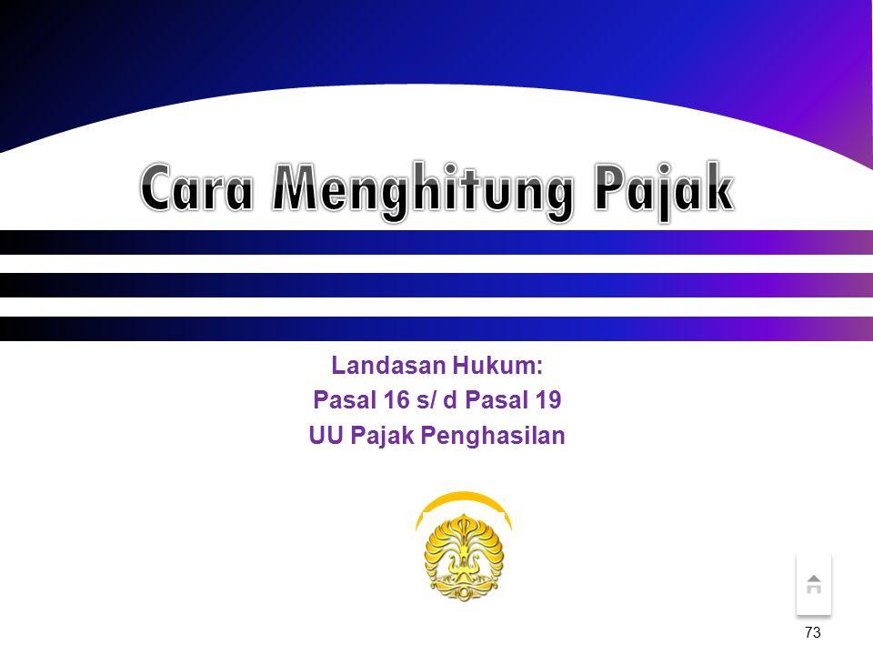 Landasan Hukum: Pasal 16 s/ d Pasal 19 UU Pajak Penghasilan 73