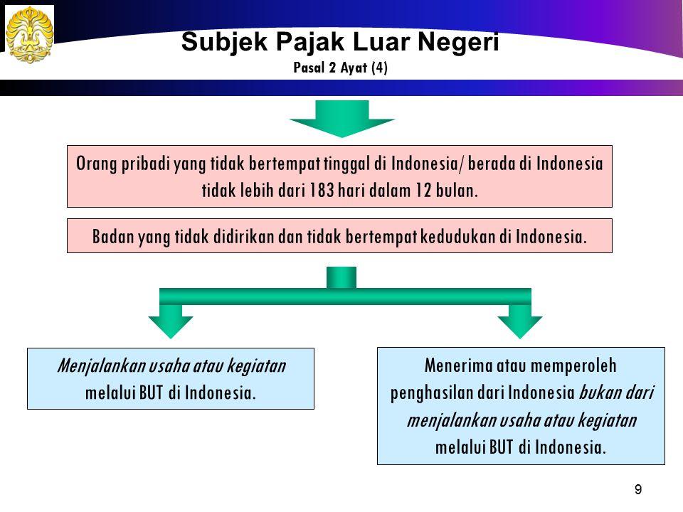 9 Orang pribadi yang tidak bertempat tinggal di Indonesia/ berada di Indonesia tidak lebih dari 183 hari dalam 12 bulan. Menerima atau memperoleh peng