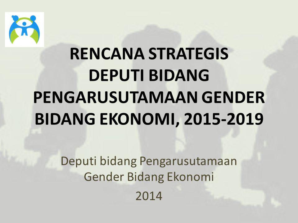 VISI DAN MISI VISI Mendorong pelaksanaan pengarusutamaan gender di bidang ekonomi untuk pencapaian kesetaraan gender dan sumberdaya yang berkualitas MISI 1.Memperbaiki kualitas ketenagakerjaan 2.Mengembangkan sistem pemberdayaan ekonomi perempuan 3.Mengintegrasikan aspek gender untuk ketahanan pangan 4.Mendorong penggunaan informatika dan teknologi tepat guna 5.Mengembangkan pelaksanaan pembangunan infrastruktur yang responsif gender