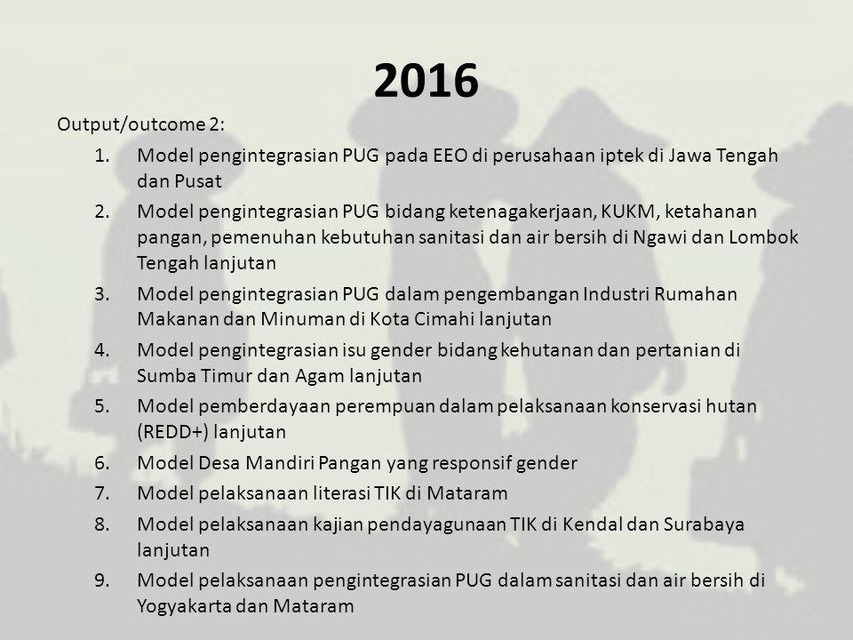 2016 Output/outcome 2: 1.Model pengintegrasian PUG pada EEO di perusahaan iptek di Jawa Tengah dan Pusat 2.Model pengintegrasian PUG bidang ketenagake