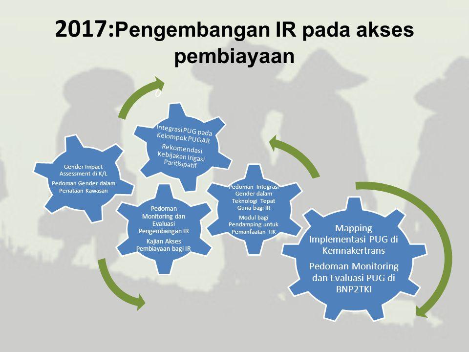 2017: Pengembangan IR pada akses pembiayaan Mapping Implementasi PUG di Kemnakertrans Pedoman Monitoring dan Evaluasi PUG di BNP2TKI Pedoman Monitorin