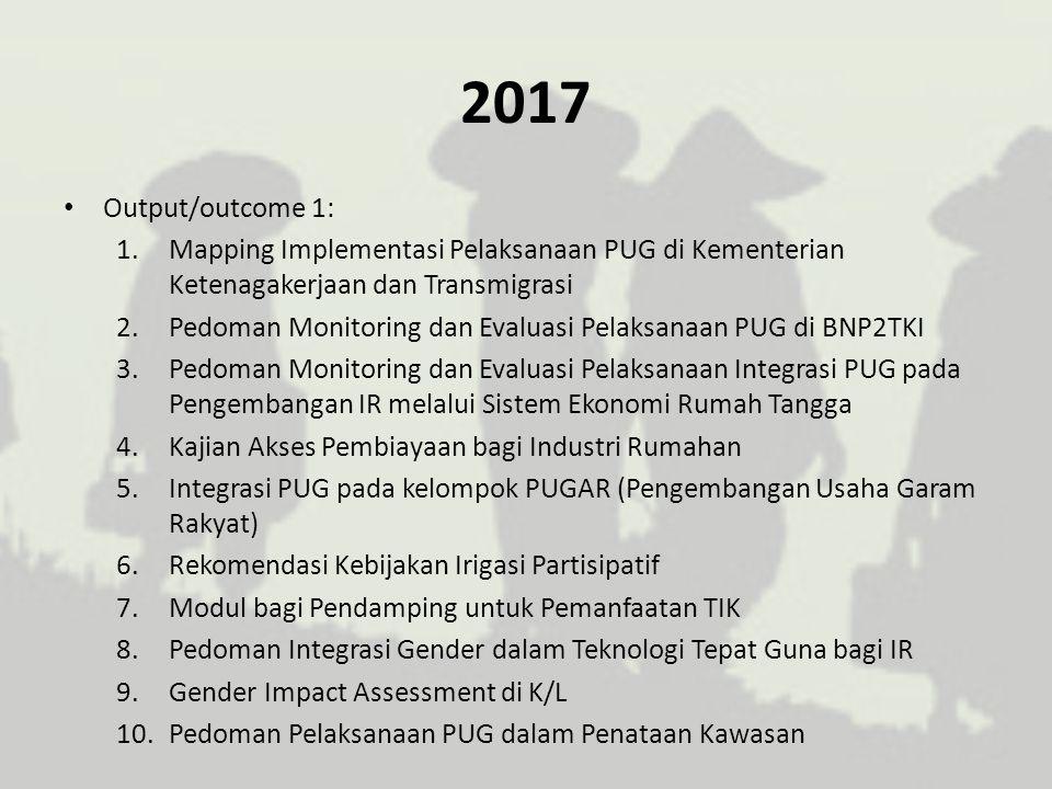 2017 Output/outcome 1: 1.Mapping Implementasi Pelaksanaan PUG di Kementerian Ketenagakerjaan dan Transmigrasi 2.Pedoman Monitoring dan Evaluasi Pelaks
