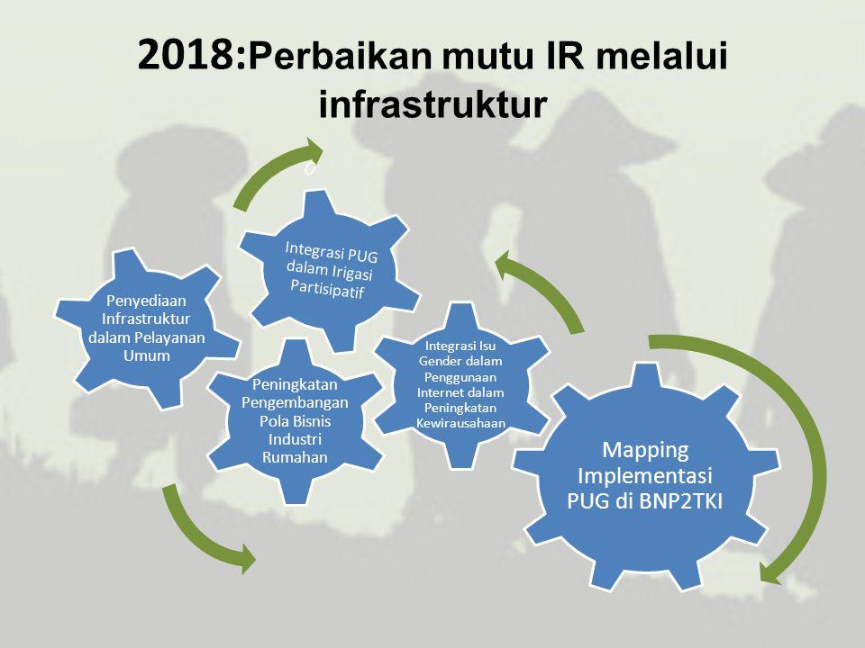 2018: Perbaikan mutu IR melalui infrastruktur Mapping Implementasi PUG di BNP2TKI Peningkatan Pengembangan Pola Bisnis Industri Rumahan Integrasi PUG