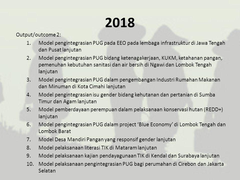 2018 Output/outcome 2: 1.Model pengintegrasian PUG pada EEO pada lembaga infrastruktur di Jawa Tengah dan Pusat lanjutan 2.Model pengintegrasian PUG b