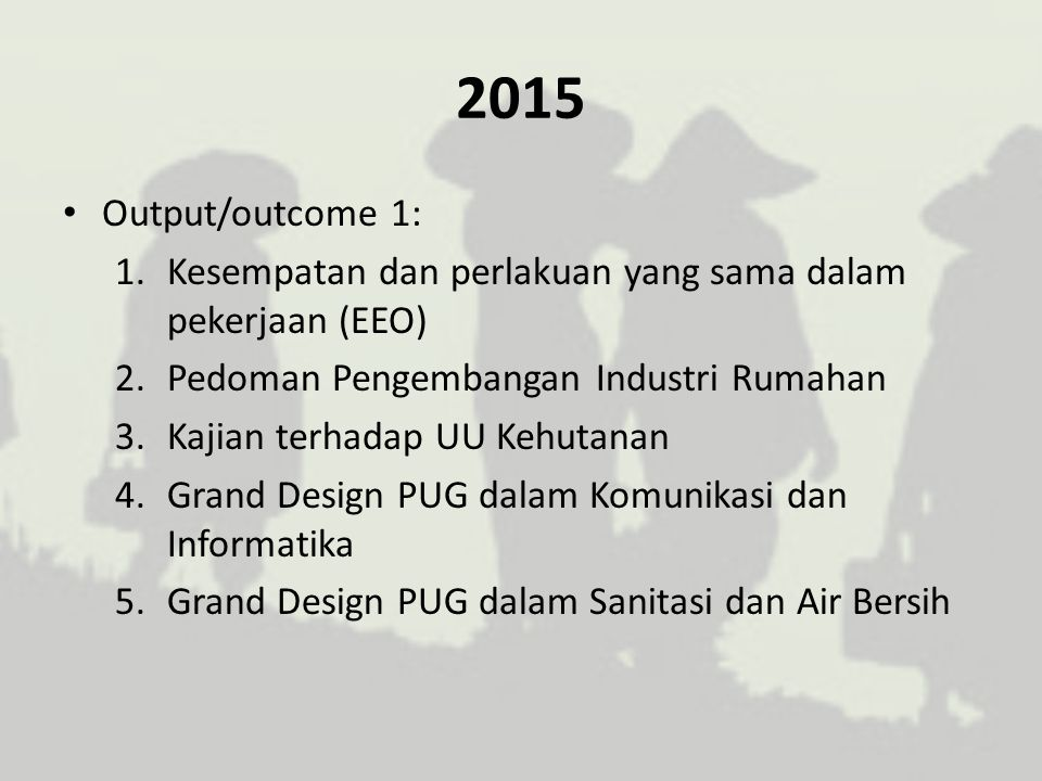 2015 Output/outcome 2: 1.Model pengintegrasian PUG pada EEO di Jawa Tengah dan Pusat 2.Model pengintegrasian PUG bidang ketenagakerjaan, KUKM dan ketahanan pangan di Ngawi dan Lombok Tengah 3.Model pengintegrasian PUG dalam pengembangan Industri Rumahan Makanan dan Minuman di Kota Cimahi 4.Model pengintegrasian isu gender bidang kehutanan dan pertanian di Sumba Timur dan Agam 5.Model pemberdayaan perempuan dalam pelaksanaan konservasi hutan (REDD+) 6.Model pelaksanaan kajian pendayagunaan TIK di Kendal dan Surabaya 7.Model pelaksanaan pengintegrasian PUG dalam sanitasi dan air bersih di kota Malang dan Medan 8.Need assessment kebutuhan sanitasi dan air bersih di Ngawi dan Lombok Tengah.