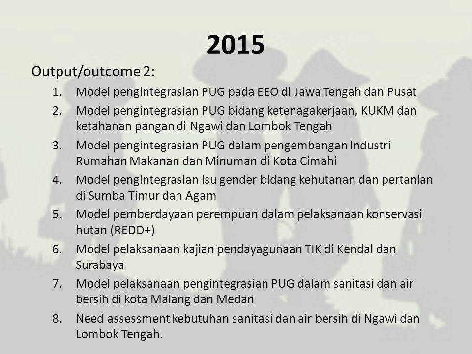 2015 Output/outcome 2: 1.Model pengintegrasian PUG pada EEO di Jawa Tengah dan Pusat 2.Model pengintegrasian PUG bidang ketenagakerjaan, KUKM dan keta