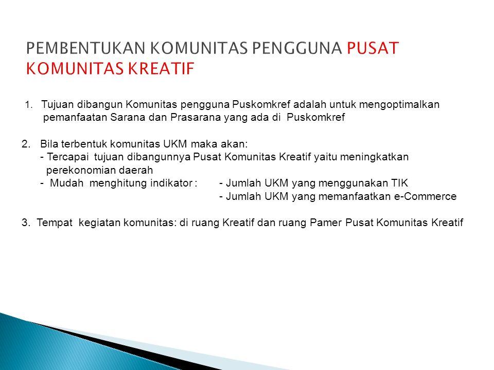 1. Tujuan dibangun Komunitas pengguna Puskomkref adalah untuk mengoptimalkan pemanfaatan Sarana dan Prasarana yang ada di Puskomkref 2.Bila terbentuk