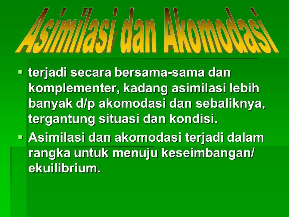  terjadi secara bersama-sama dan komplementer, kadang asimilasi lebih banyak d/p akomodasi dan sebaliknya, tergantung situasi dan kondisi.  Asimilas