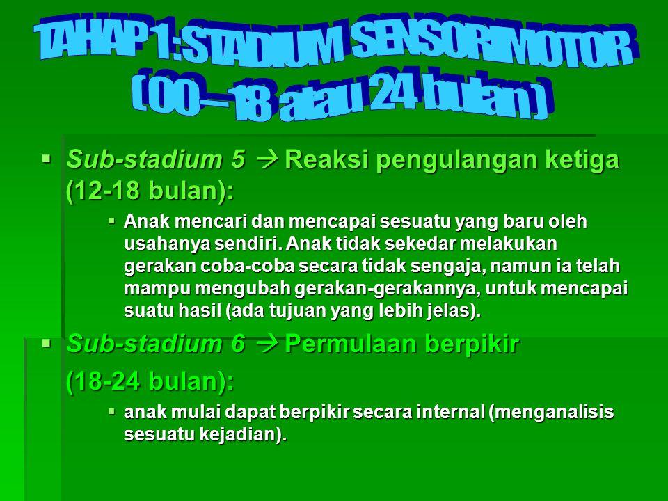  Sub-stadium 5  Reaksi pengulangan ketiga (12-18 bulan):  Anak mencari dan mencapai sesuatu yang baru oleh usahanya sendiri. Anak tidak sekedar mel