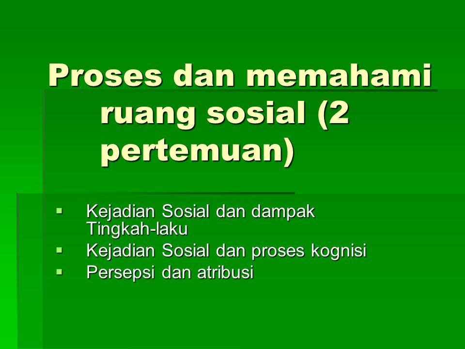 Proses dan memahami ruang sosial (2 pertemuan)  Kejadian Sosial dan dampak Tingkah-laku  Kejadian Sosial dan proses kognisi  Persepsi dan atribusi
