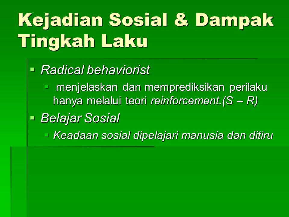 Kejadian Sosial & Dampak Tingkah Laku  Radical behaviorist  menjelaskan dan memprediksikan perilaku hanya melalui teori reinforcement.(S – R)  Belajar Sosial  Keadaan sosial dipelajari manusia dan ditiru