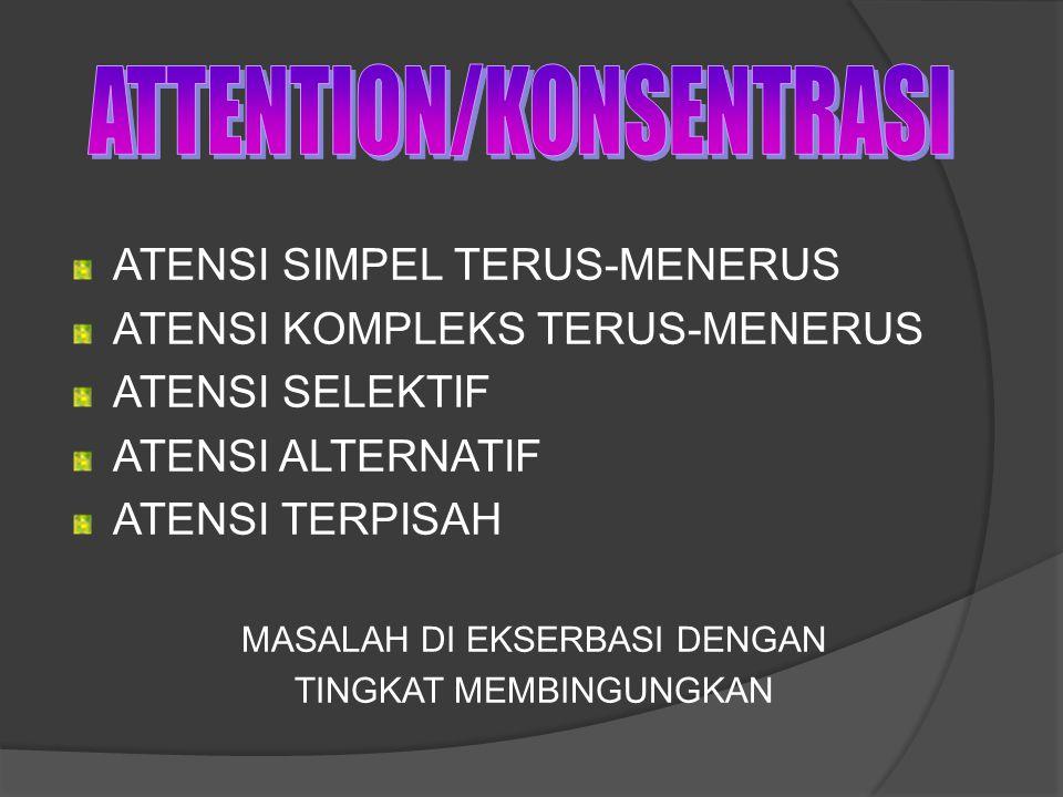 ATENSI SIMPEL TERUS-MENERUS ATENSI KOMPLEKS TERUS-MENERUS ATENSI SELEKTIF ATENSI ALTERNATIF ATENSI TERPISAH MASALAH DI EKSERBASI DENGAN TINGKAT MEMBIN