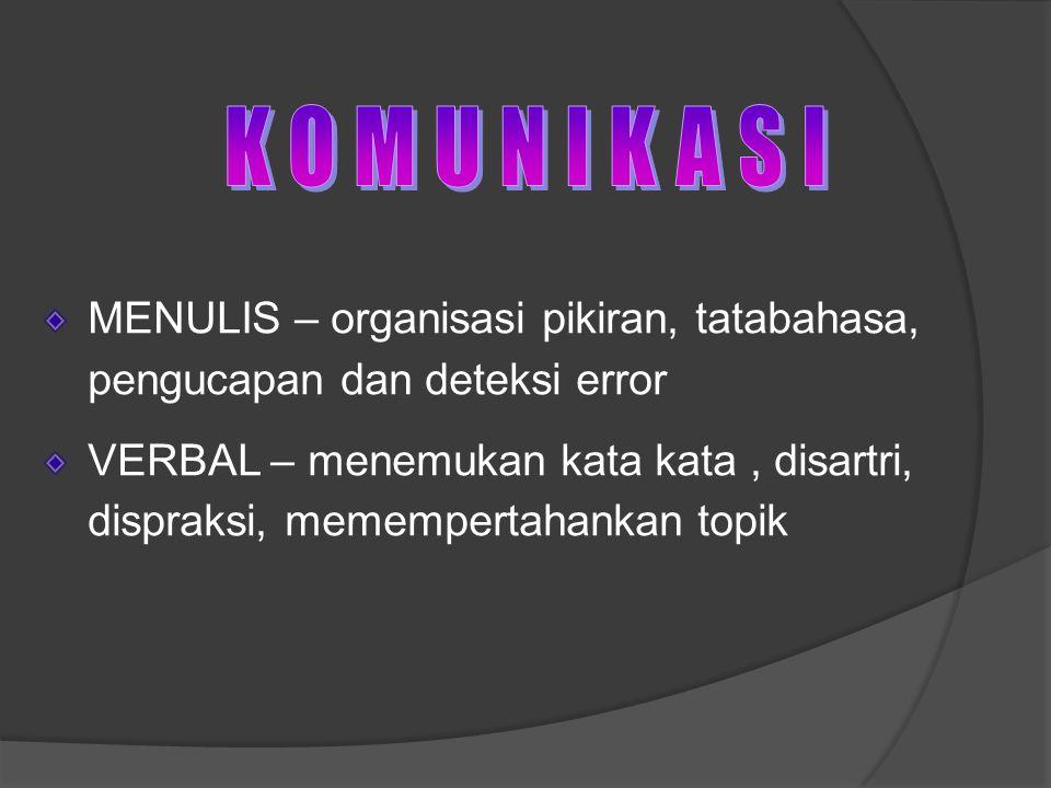 MENULIS – organisasi pikiran, tatabahasa, pengucapan dan deteksi error VERBAL – menemukan kata kata, disartri, dispraksi, memempertahankan topik