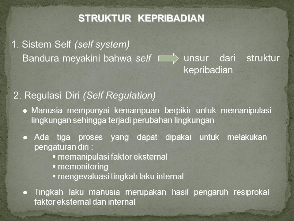 STRUKTUR KEPRIBADIAN 1. Sistem Self (self system) Bandura meyakini bahwa self unsur dari struktur kepribadian 2. Regulasi Diri (Self Regulation) ●Ada