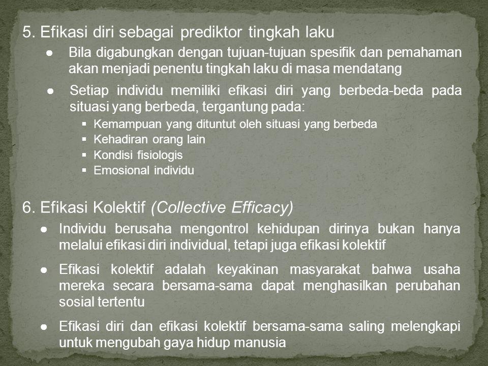 5. Efikasi diri sebagai prediktor tingkah laku  Kemampuan yang dituntut oleh situasi yang berbeda  Kehadiran orang lain  Kondisi fisiologis  Emosi