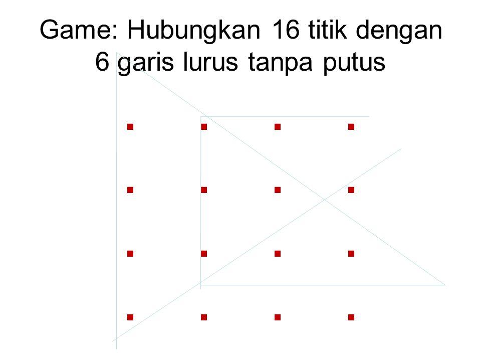 .. Game: Hubungkan 16 titik dengan 6 garis lurus tanpa putus