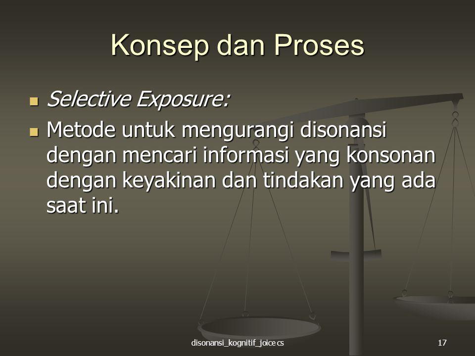 disonansi_kognitif_joice cs17 Konsep dan Proses Selective Exposure: Selective Exposure: Metode untuk mengurangi disonansi dengan mencari informasi yan
