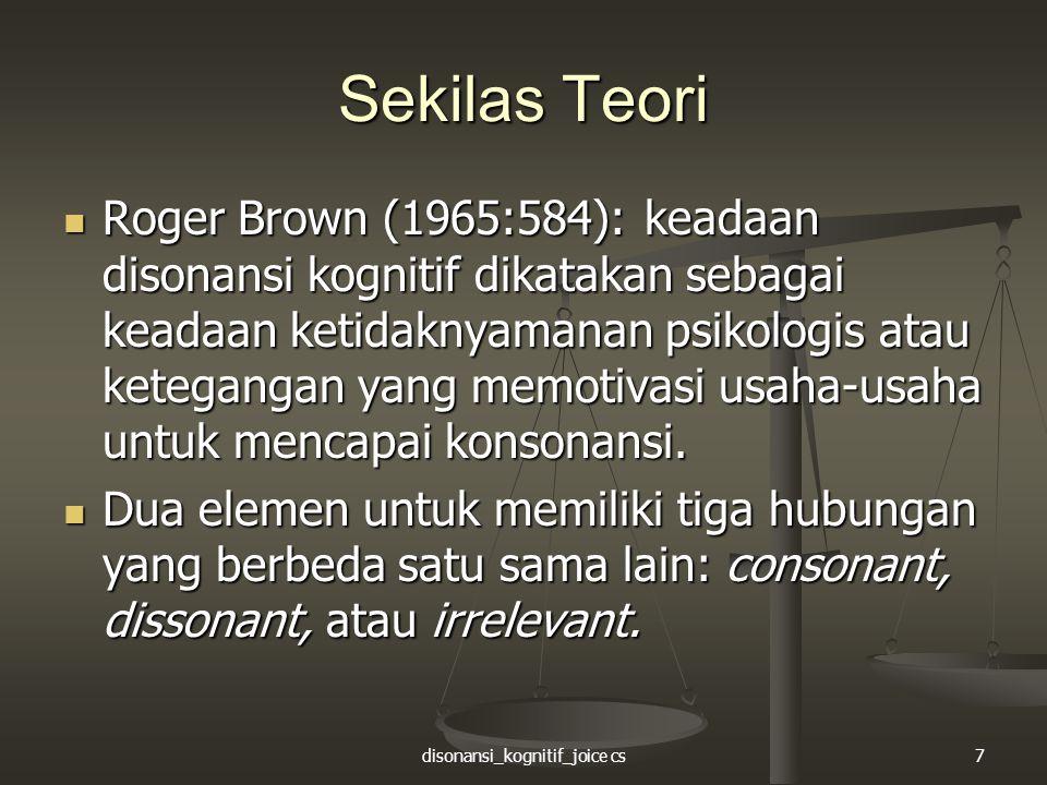 disonansi_kognitif_joice cs7 Sekilas Teori Roger Brown (1965:584): keadaan disonansi kognitif dikatakan sebagai keadaan ketidaknyamanan psikologis ata