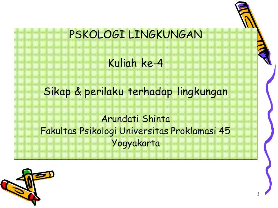 1 PSKOLOGI LINGKUNGAN Kuliah ke-4 Sikap & perilaku terhadap lingkungan Arundati Shinta Fakultas Psikologi Universitas Proklamasi 45 Yogyakarta