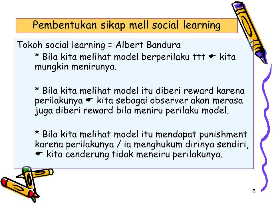 5 Tokoh social learning = Albert Bandura * Bila kita melihat model berperilaku ttt  kita mungkin menirunya. * Bila kita melihat model itu diberi rewa