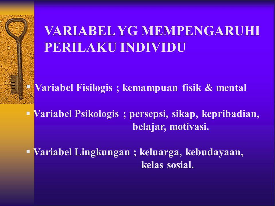 VARIABEL YG MEMPENGARUHI PERILAKU INDIVIDU  Variabel Fisilogis ; kemampuan fisik & mental  Variabel Psikologis ; persepsi, sikap, kepribadian, belajar, motivasi.
