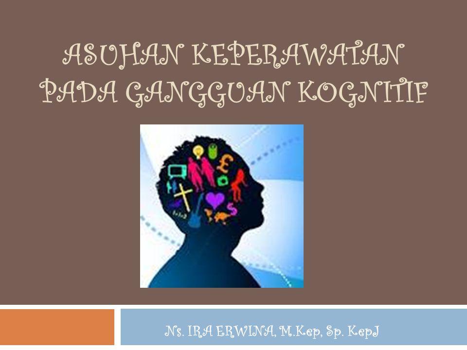 PENDAHULUAN  Klien dgn gangguan mental organik : DELIRIUM & DEMENSIA akan mengalami GANGGUAN KOGNITIF  Mrpk respon maladaptif yg ditandai oleh daya ingat yang terganggu, DISORIENTASI, INKOHEREN, & SUKAR BERPIKIR secara LOGIS (Stuart & Sundeen, 1987)