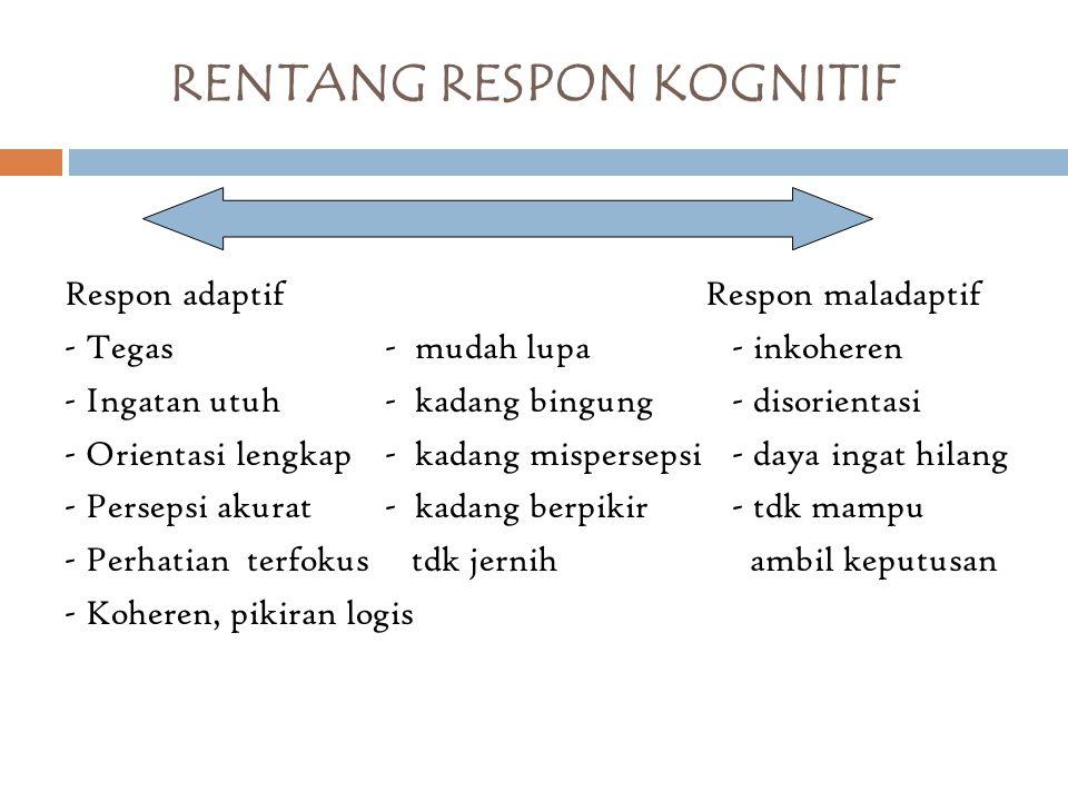 RENTANG RESPON KOGNITIF Respon adaptif Respon maladaptif - Tegas- mudah lupa - inkoheren - Ingatan utuh- kadang bingung - disorientasi - Orientasi len