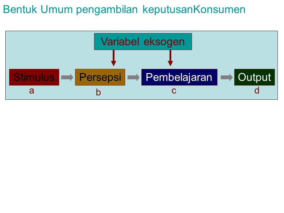 Variabel eksogen StimulusPersepsiPembelajaranOutput Bentuk Umum pengambilan keputusanKonsumen a b cd