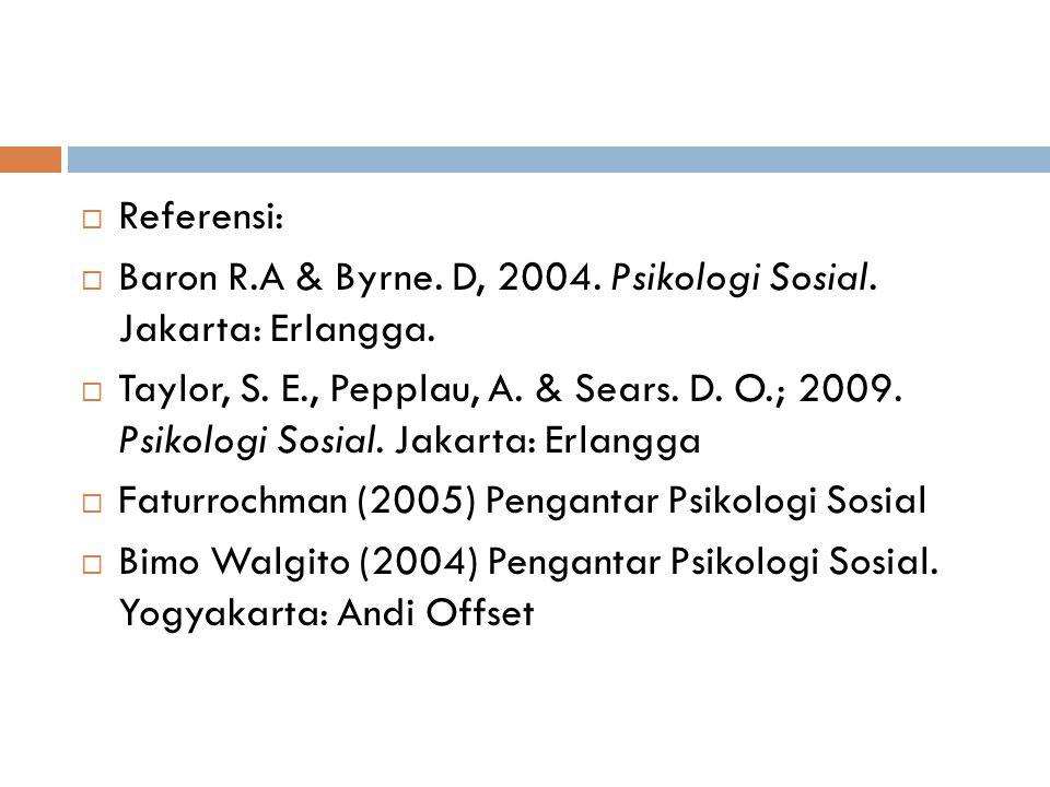  Referensi:  Baron R.A & Byrne. D, 2004. Psikologi Sosial. Jakarta: Erlangga.  Taylor, S. E., Pepplau, A. & Sears. D. O.; 2009. Psikologi Sosial. J