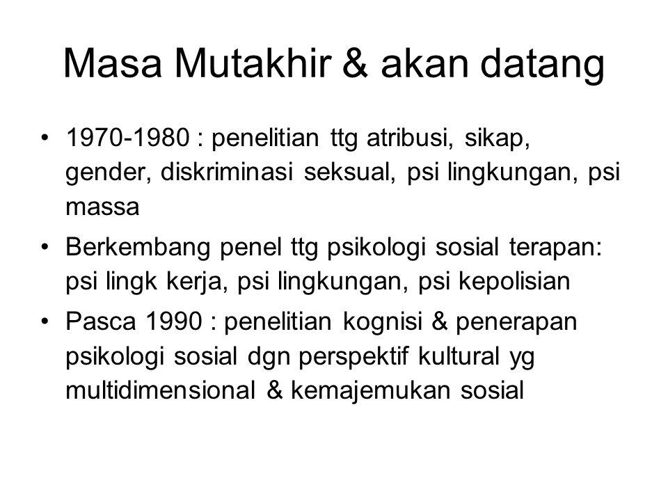 Masa Mutakhir & akan datang 1970-1980 : penelitian ttg atribusi, sikap, gender, diskriminasi seksual, psi lingkungan, psi massa Berkembang penel ttg psikologi sosial terapan: psi lingk kerja, psi lingkungan, psi kepolisian Pasca 1990 : penelitian kognisi & penerapan psikologi sosial dgn perspektif kultural yg multidimensional & kemajemukan sosial