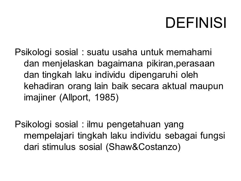 Psikologi sosial : ilmu pengetahuan yang mempelajari cara individu berpikir, merasa, dan bertingkah laku dalam setting sosial (Brehm&Kassin,1993)