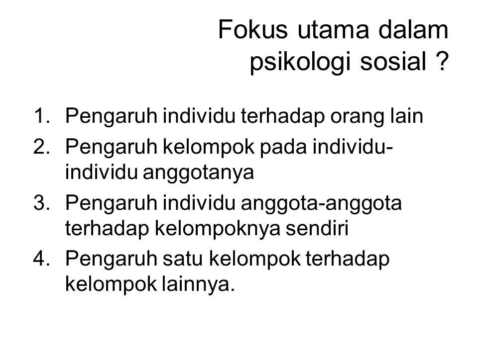 Fokus utama dalam psikologi sosial .
