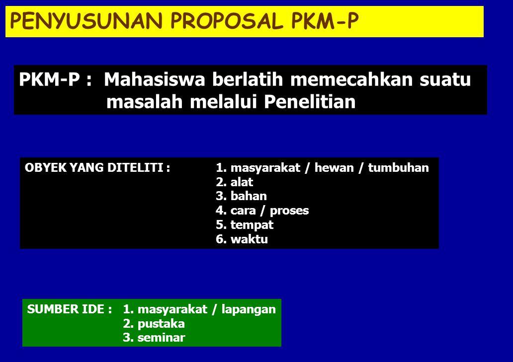 PENYUSUNAN PROPOSAL PKM-P SUMBER IDE : 1. masyarakat / lapangan 2. pustaka 3. seminar OBYEK YANG DITELITI :1. masyarakat / hewan / tumbuhan 2. alat 3.