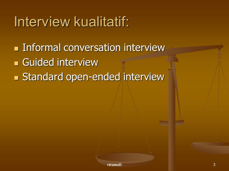 ninawati3 Interview kualitatif: Informal conversation interview Informal conversation interview Guided interview Guided interview Standard open-ended
