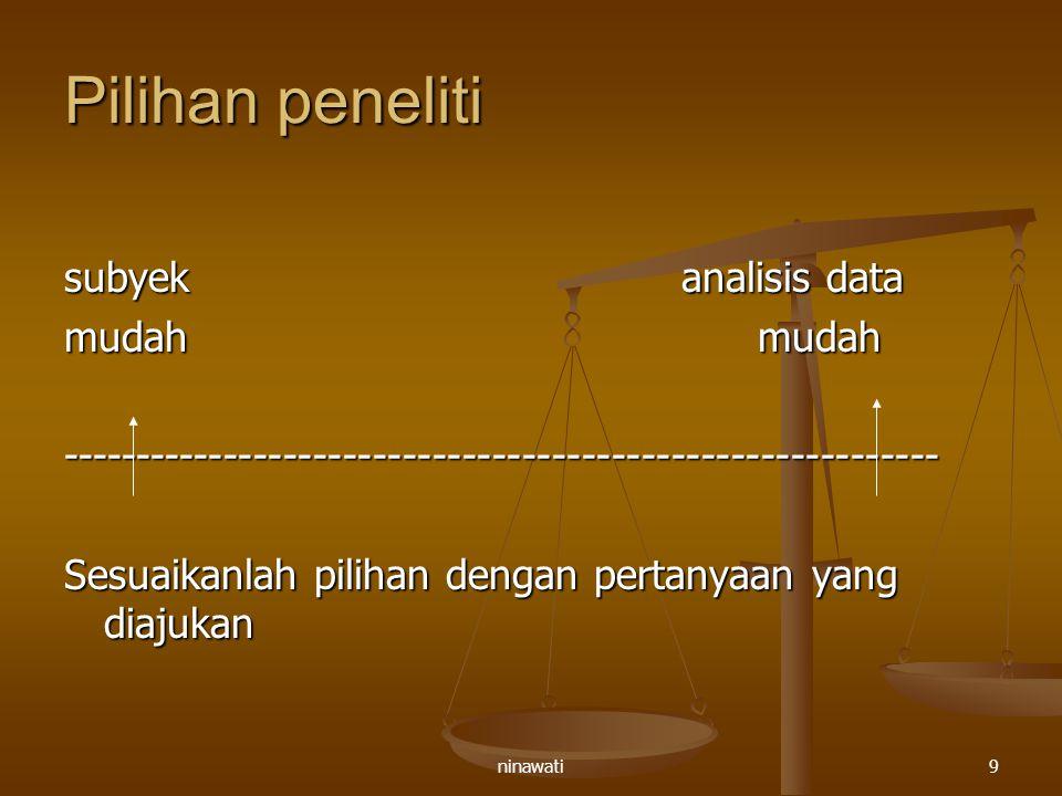 ninawati10 Memilih pertanyaan 1.Experience and behavior action 2.
