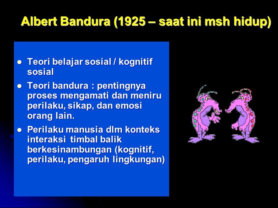 by FH Albert Bandura (1925 – saat ini msh hidup) Teori belajar sosial / kognitif sosial Teori belajar sosial / kognitif sosial Teori bandura : pentingnya proses mengamati dan meniru perilaku, sikap, dan emosi orang lain.
