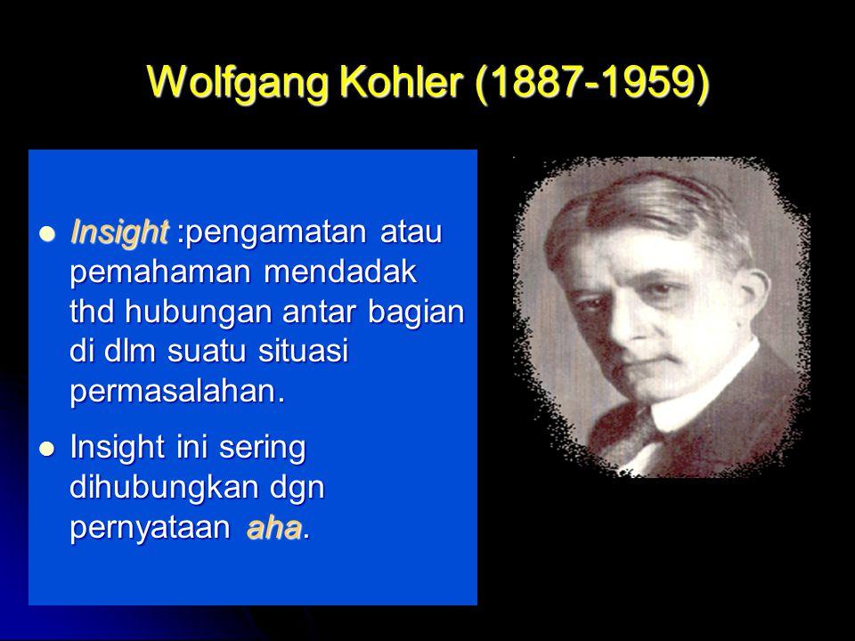 by FH Wolfgang Kohler (1887-1959) Insight :pengamatan atau pemahaman mendadak thd hubungan antar bagian di dlm suatu situasi permasalahan.