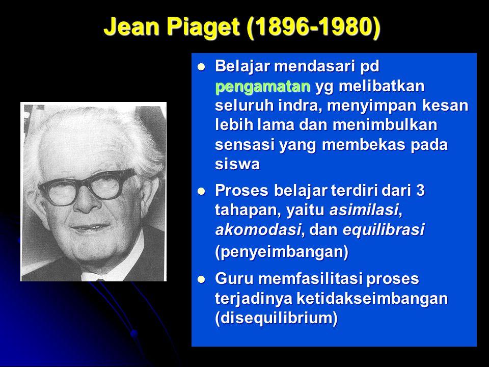 by FH Jean Piaget (1896-1980) Jean Piaget (1896-1980) Belajar mendasari pd pengamatan yg melibatkan seluruh indra, menyimpan kesan lebih lama dan menimbulkan sensasi yang membekas pada siswa Belajar mendasari pd pengamatan yg melibatkan seluruh indra, menyimpan kesan lebih lama dan menimbulkan sensasi yang membekas pada siswa Proses belajar terdiri dari 3 tahapan, yaitu asimilasi, akomodasi, dan equilibrasi (penyeimbangan) Proses belajar terdiri dari 3 tahapan, yaitu asimilasi, akomodasi, dan equilibrasi (penyeimbangan) Guru memfasilitasi proses terjadinya ketidakseimbangan (disequilibrium) Guru memfasilitasi proses terjadinya ketidakseimbangan (disequilibrium)